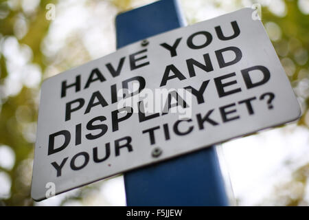 A pay and display parking sign in Bradford, West Yorkshire, Britain. - Stock Photo