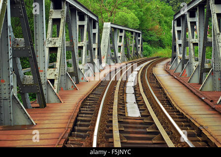 rusty railway bridge in Caransebes Romania - Stock Photo