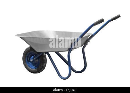 wheelbarrow isolated white - Stock Photo