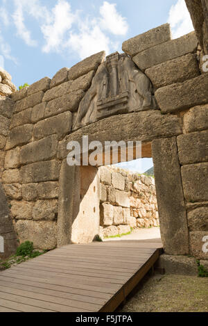 The Lion Gate. The archaeological sites of Mycenae and Tiryns have been inscribed upon the World Heritage List of - Stock Photo