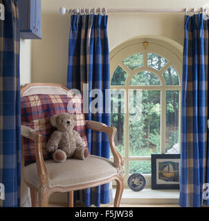 Blue Checked Curtains On Window In Country Kitchen With Fitted ...