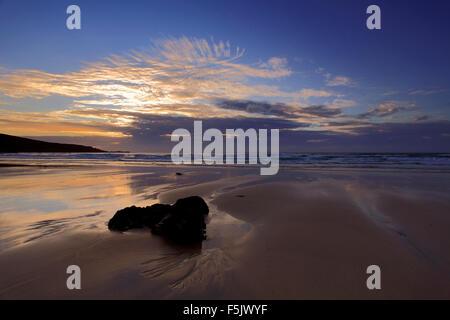 Sunset colours, Porthmeor beach, St Ives town, Cornwall County; England; UK
