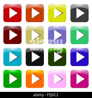 Vector Set of Colorful Play Icons - Stock Photo