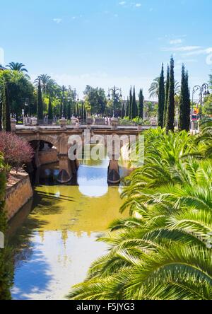 Sa Sierra historical city canal and Passeig Mallorca, Porta de Santa Catalina, Palma de Mallorca, Mallorca, Balearic - Stock Photo