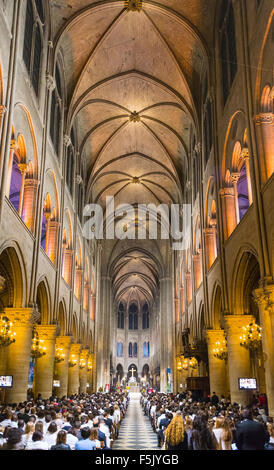 Notre Dame Cathedral, interior, western facade, Ile de la Cite, Paris, Region Ile-de-France, France - Stock Photo