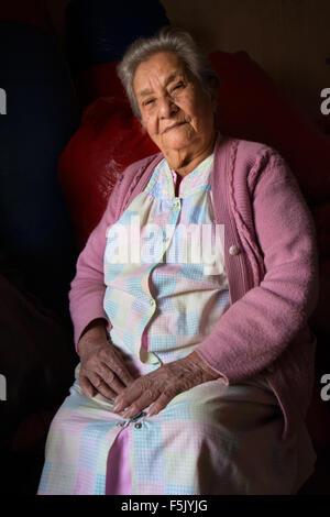 90-year-old woman, portrait, coca trader, Coroico, La Paz, Bolivia