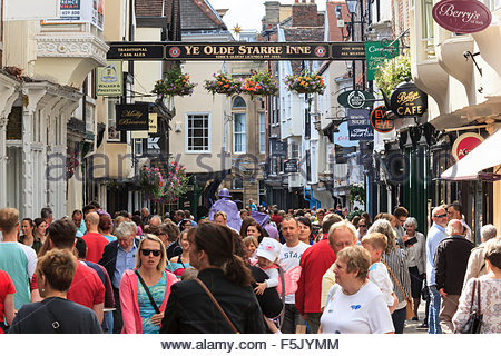 Crowd of people on Stonegate York North Yorkshire England UK - Stock Photo