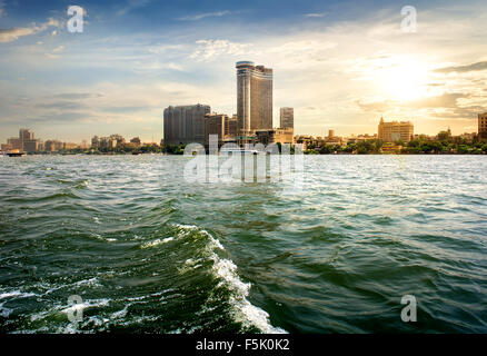 View on modern Cairo from the Nile - Stock Photo