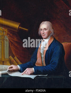 DAVID RITTENHOUSE (1732-1796) American astronomer and inventor painted by Charles Peale in 1796 - Stock Photo