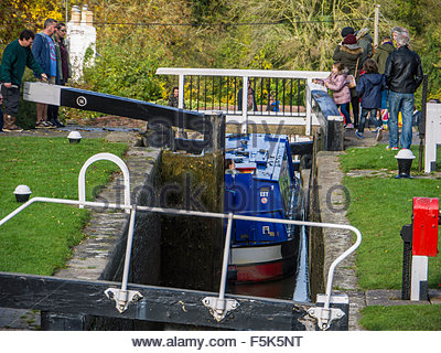 Foxton locks on the grand union canal Leicestershire England UK GB - Stock Photo