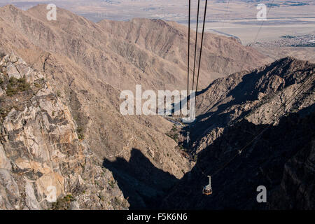 Shadow of the Palm Springs Aerial Tramway, california, usa, as it ascends to Mount Jacinto - Stock Photo