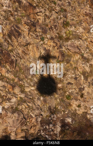 Shadow of the Palm Springs Aerial Tramway, california, usa, as it descends from Mount Jacinto - Stock Photo