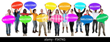 Refugees welcome group of young multi ethnic people holding speech bubbles isolated - Stock Photo