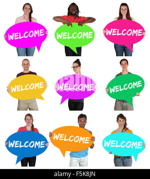 Refugees welcome group of young multi ethnic people with speech bubbles isolated - Stock Photo