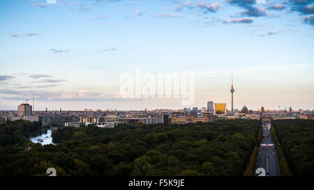 Berlin Panorama from the Victory Statue (Siegessäule) - Stock Photo
