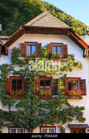 Hallstatt, in upper Austria is a village in the Salzkammergut, a region in Austria. It is located near the Hallstätter - Stock Photo