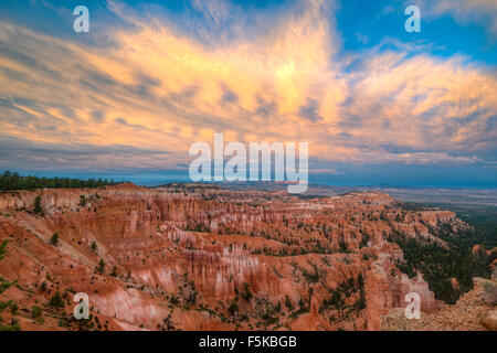 Sunset Point view, Bryce Canyon National Park, Utah, Wasatch limestone pinnacles and sunset clouds - Stock Photo