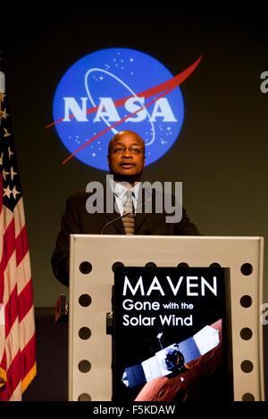 Washington DC, USA. 5th November, 2015. NASA's Mars Atmosphere and Volatile Evolution (MAVEN) mission has identified - Stock Photo