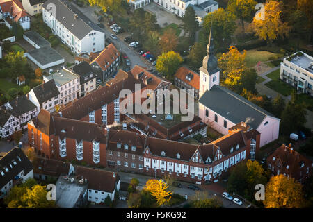 Church of St. Peter with Seniorenheim St.Josef, retirement home, autumn mood, morning mood, Essen-Kettwig, Essen, - Stock Photo