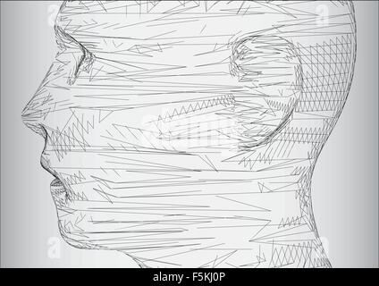 The conceptual 3D wire frame human male head - Stock Photo