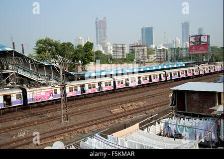 The image of Local train was taken in Mumbai, Maharashtra, India Stock Photo