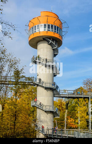 Treetop walkway in Hainich National Park, Thuringia, Germany - Stock Photo