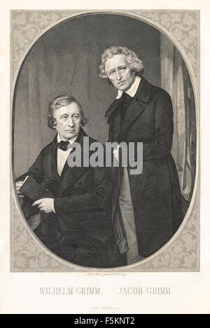 Portrait of the Brothers Grimm, Wilhelm Grim (1786-1859) seated, Jacob Grimm  (1785-1863) standing; steel engraving - Stock Photo