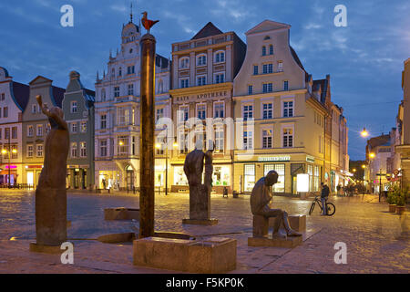 New Market Square with Neptune Fountain in Rostock,  Germany - Stock Photo