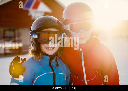 Sweden, Dalarna, Salen, Portrait of boy (10-11) and girl (8-9) - Stock Photo