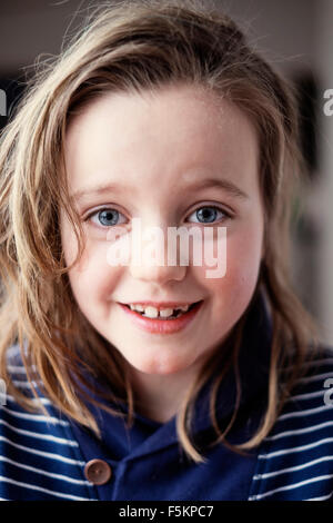 Sweden, Portrait of girl (8-9) - Stock Photo