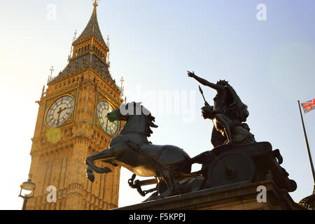 The statue of Boadicea underneath Big Ben in Westminster, London, UK, close to the House of Parliament - Stock Photo