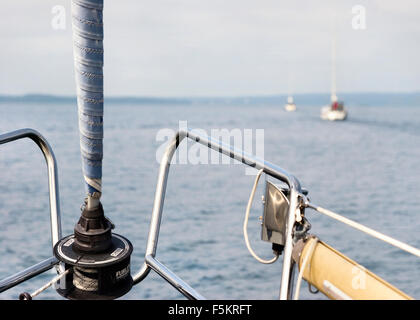 Sweden, Bohuslan, View from sailing boat's bow - Stock Photo