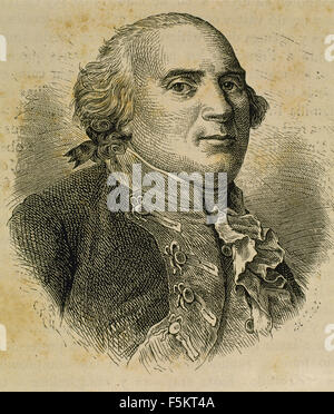 Frederick William II (1744-1797). King of Prussia. Portrait. Engraving. 19th century. - Stock Photo