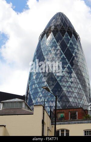 The Gherkin in London, UK, 30 St Mary Axe - Stock Photo