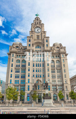 The Liver Building on Liverpool's Mersey River, UK - Stock Photo
