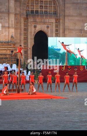 Malkhamb performed on army day celebration at gateway, mumbai, maharashtra, india, asia - Stock Photo