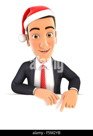 3d businessman pointing to empty wall and holding santa hat, isolated white background - Stock Photo