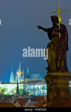 View of St Vitus Cathedral from Charles Bridge at night, Prague, Czech Republic - Stock Photo