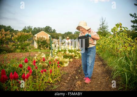 Senior woman watering flowers with bucket on farm - Stock Photo