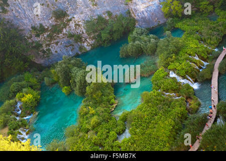 Croatia, Europe, Plitvicer lakes, Jezera, lake, sea, national park, trees, autumn, waterfalls - Stock Photo