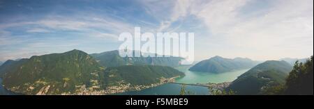 High angle panoramic view of Lake Lugano, Switzerland - Stock Photo