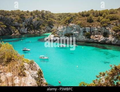 High angle view of yachts anchored at Cala Macarella, Menorca, Spain - Stock Photo