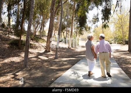 Senior couple walking hand in hand, outdoors, rear view - Stock Photo
