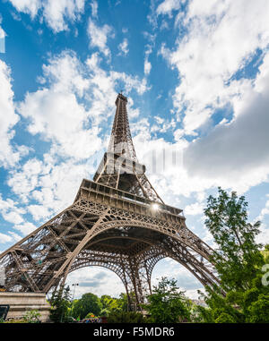 Eiffel Tower, tour Eiffel, Paris, Ile-de-France, France - Stock Photo