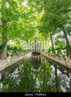 Water basin,Jardin du Luxembourg, Quartier Latin, Paris, Ile-de-France, France - Stock Photo