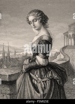 Margarete, known as Gretchen, in the tragedy Faust written by Johann Wolfgang von Goethe, - Stock Photo