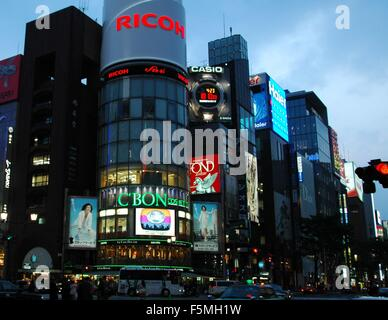 Evening traffic in Ginza, Tokyo, Japan - Stock Photo