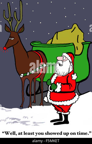 Christmas cartoon of Santa and sleigh.  Santa has nine reindeer but only one '... showed up on time'. - Stock Photo