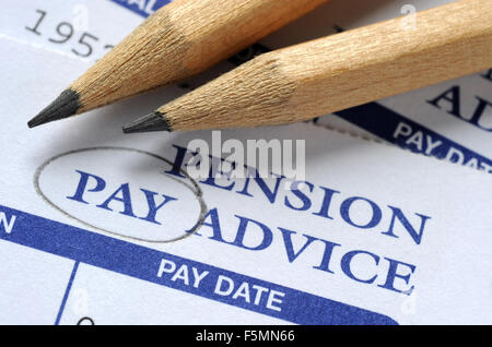 Company Pension Pay Advice With One Pound Coins Re Pensions Stock