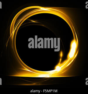 Molten gold ring. Abstract fire fractal with round hole on black background. Graphic pattern - Stock Photo